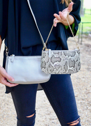 Cyrus Double Crossbody Bag Pewter