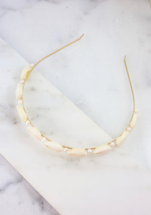 McWhiggin Shell and Pearl Headband Natural