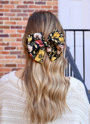 Fiona Floral Bow Barrette BLACK