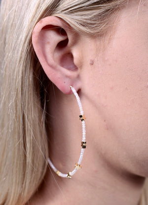 Preston Glass Bead And Star Bead Post Hoop Earring IVORY