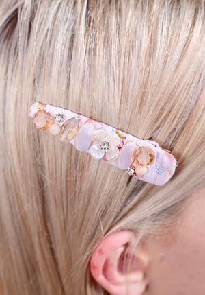 Pailey Floral Embellished Wrapped Hair Pin BLUSH
