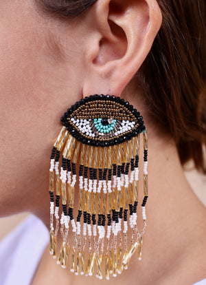 Navarre Large Evil Eye Seed Bead Fringe Post Earring BLACK