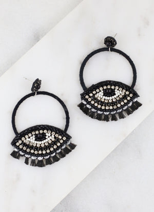 Salton Round Embellished Evil Eye Post Earring BLACK