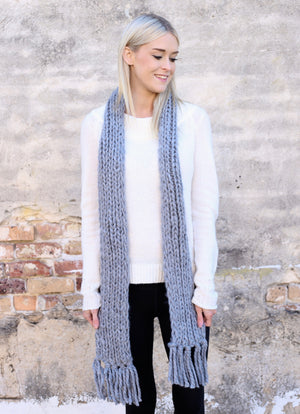Graycen Chunky Knit Scarf with Fringe GRAY