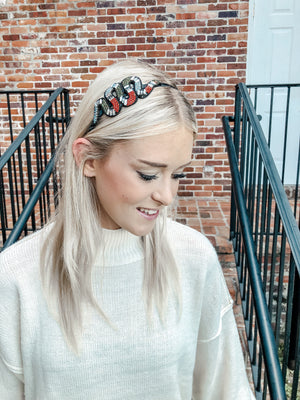 Revenge Embellished Snake Headband Red