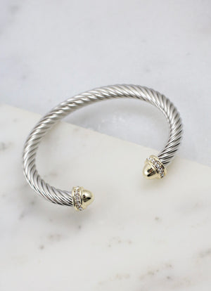 Becks CZ Accent Two Tone Cable Bracelet SILVER