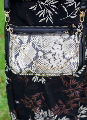 Cyrus Double Crossbody Bag Snake Gold Fleck