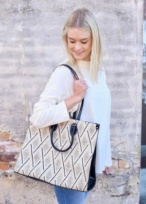 Marci Large Tote Bag Neutral Straw