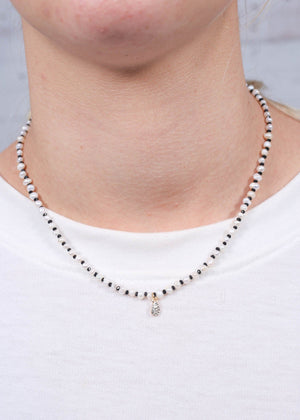 Epsilon Freshwater Pearl Necklace with CZ Charm BLACK