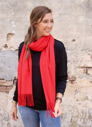 Athens Solid Scarf RED