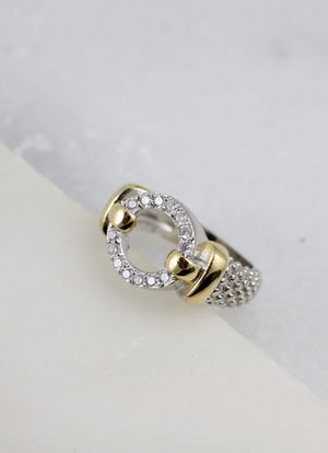 Oscor Two Tone Ring with CZ Circle SILVER
