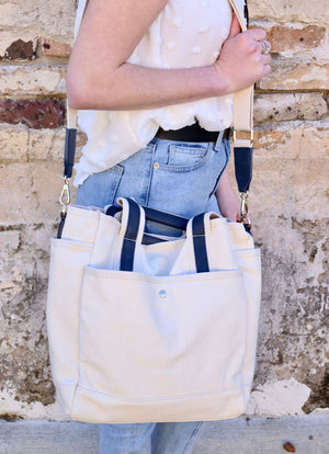 Kramer Canvas Tote with Bonus Bag NAVY