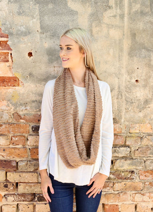 Deangelo Faux Fur Infinity Scarf TAUPE