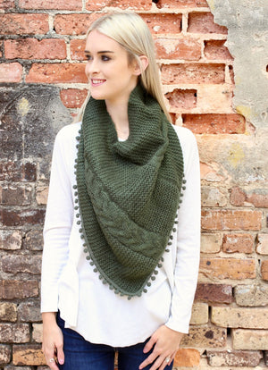 Aisha Loop Scarf with Pop Pom Trim GREEN