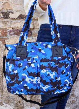 Henney Quilted Tote Bag NAVY