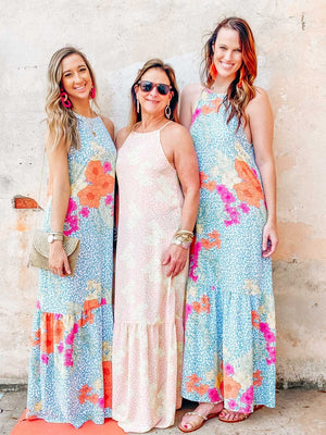 Bohemian Rhapsody Maxi Dress (6 PACK) - FLORAL CORAL LEOPARD