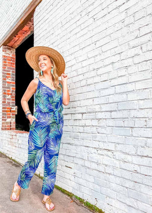 Summer Days Tie Jumpsuit (6 Pack) - Navy Palm Party