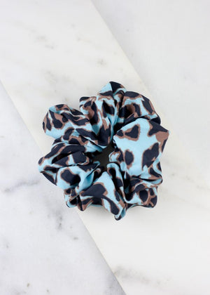Millie Leopard Print Scrunchie BLUE