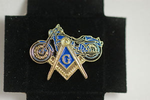 D9773 Lapel Pin Masonic Motorcycle Square and Compass