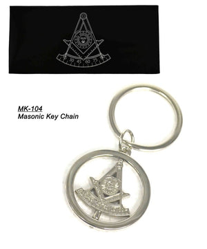 D0082 Masonic Key Ring PM Spinner Silver