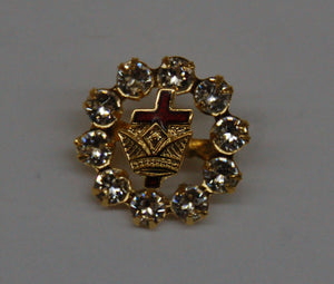D9819 Lapel Pin Rhinestone Cross & Crown