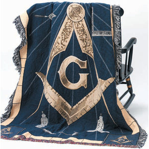 D8350 Throw Tapestry Masonic S&C with Working Tools
