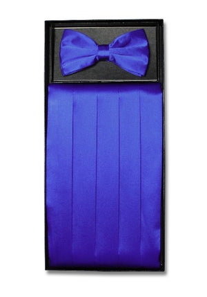 D7009 Cummerbund Bow Tie Combo Set Royal Blue Satin