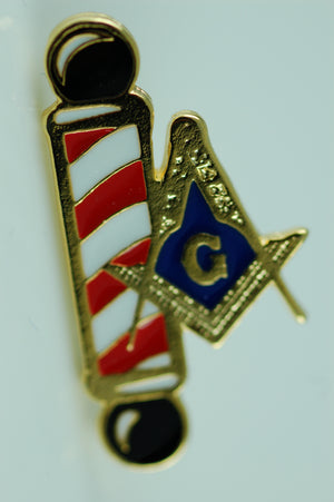 D246 Lapel Pin Masonic Barber Shop S&C