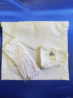 Apron, gloves and facemask