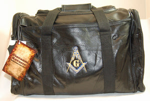 D374 Masonic Bag Barrel Style Duffle Black Leather with S&C