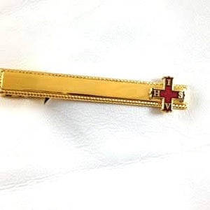 D2514 Tie Bar Masonic Personal Red Cross of Constantine Gold