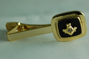 D463-A1 Tie Bar Masonic Black Onyx S&C Logo
