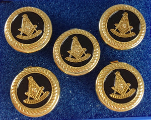 D0240 Button Cover Set Masonic PM w/SQ Gold/Black