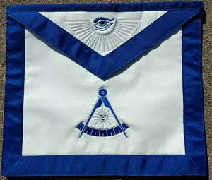 D3800 Apron Past Master with Adjustable Belt Silver & Blue