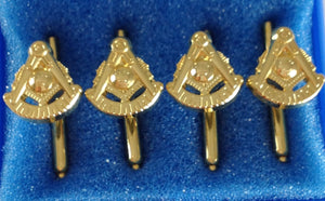 D9910 Shirt Stud Set Masonic PM w/SQ Gold