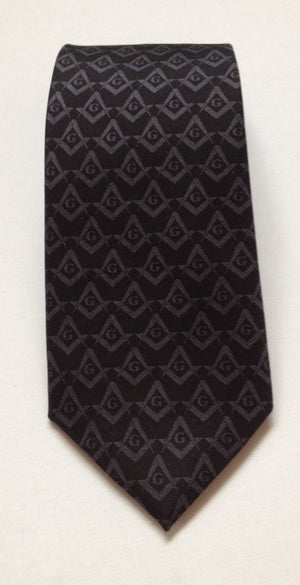 D9003 Tie 100% SILK Masonic Square and Compass Subdued Black