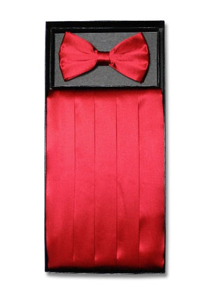 D7007 Cummerbund Bow Tie Combo Set Red Satin