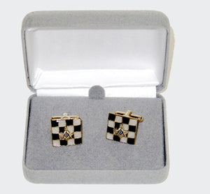 D9835 Cuff Links Set Gold w/S & C on Black/White Check