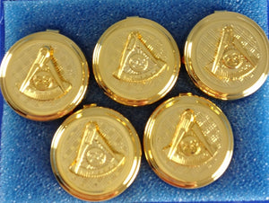D99027 Button Cover Set Masonic PM NO Sq Gold