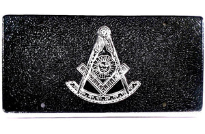 D9988 License Plate Masonic 1 1/2lb Cast Iron Aluminum Past Master with Square/Black