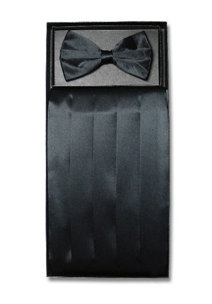 D7006 Cummerbund Bow Tie Combo Set Black Satin