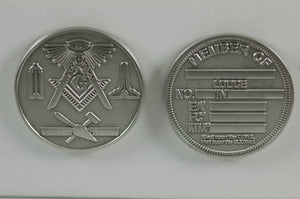 D8889 Masonic Coin Antique Silver