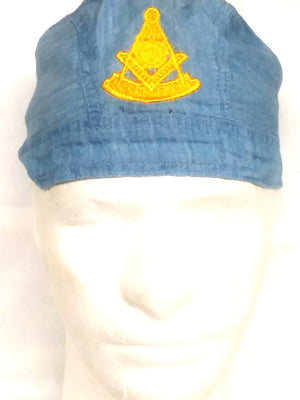 D563 Doo Rag Denim Embroidered Past Master Logo