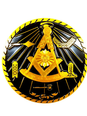D575PM-Metal Emblem Auto Masonic Past Master w/Square Black and Gold  Metal