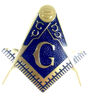 D575SC-1A Emblem Auto Masonic Square & Compass Cut Out Blue & Gold