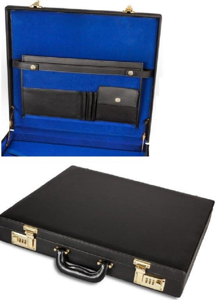 Case Apron Briefcase Style Black Leather Blue Inside With Gold Hardwar    Dean And Associates Masonic Aprons U0026 Supplies