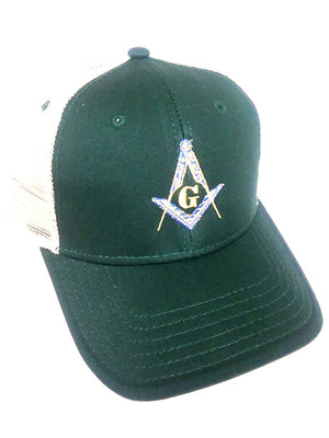 D9113 Hat Masonic S&C KHAKI/GREEN/KHAKI Mesh Backing and Velcro Fastener