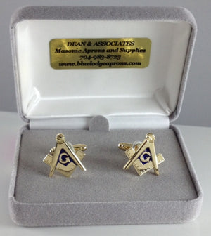 D290 Cuff Link Set Masonic S & C Cut-Out Gold