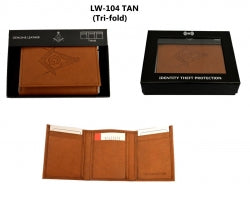 D8069 Wallet Masonic RFID Tri fold Tan with S&C logo