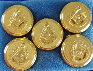 D9921 Button Cover Set Masonic PM w/SQ Gold